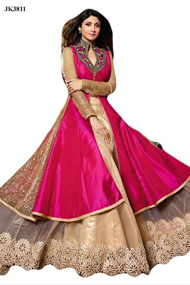 Bollywood Celebrity Shilpa Shetty Pink And Beige Color Heavy Embroidered Designer Anarkali Suit