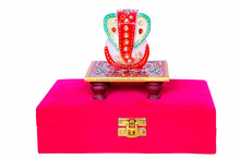 Diwali Gift Set : Marble Ganesha/Ganapathi/Vinayaka on Chowki in Rich Red Velvet Box: Memorable Indian Gift