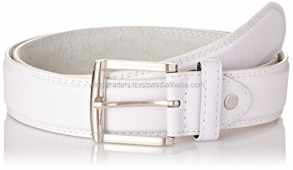 White Men's Genuine Leather Dress Belt Casual