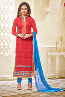 Chemically GPO Embroidered Long Straight Designer Salwar Suit