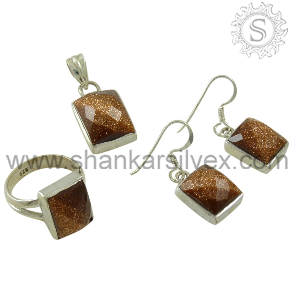 Natural Touch 925 Sterling Silver Jewelry Indian Wholesaler Designer Jewelry Set Brown Sunstone Gemstone Jewelry Set 4SCT1003-4