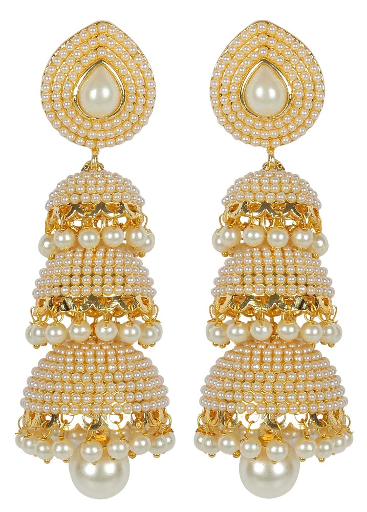 Indian Gold Plated Traditional Stylish Pearl Big Jhumka Earrings For Women
