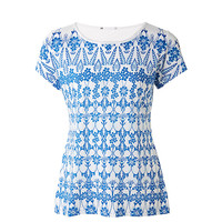 Latest Front printed T-shirt White colour short sleeve round neck fashionable trandy for women wholesale product of 2016