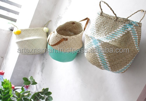 Eco friendly handmade straw seagrass basket, seagrass rice basket dipped color