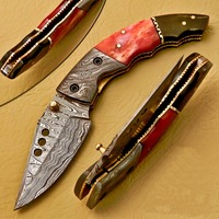 A HANDMADE QUALITY MAKER, CAMEL AND BUFFALO HANDLE DAMASCUS STEEL LINER LOCK FOLDING KNIFE