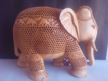 Home decoration 2016 best selling wood handicrafts Fine zali work wood elephant asian wooden Handicarft