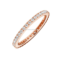 14k Gold Pave Diamond Eternity Band Ring