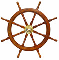 "Nautical Deluxe Class Wood and Brass Decorative Ship Wheel 36"" - Home"