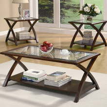 Home Decor Large Space Solid Wood Coffee Table/3 Piece Coffee Table Set in Stylist cross Shape for Home Decor