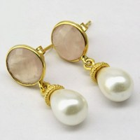 Princess Design !! White Pearl_Rose Quartz 925 Sterling Silver Earring, All Over World Shipping, Sterling Rings