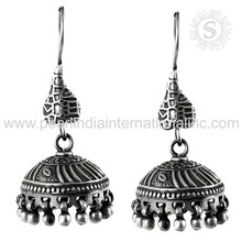 Aggressive jhumka design 925 sterling silver jewelry earring handmade plain silver earrings wholesale