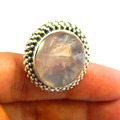 Natural Rose Quartz ring 925 sterling silver jewelry