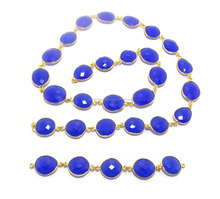 Beautiful Blue Chalcedony Gold Plated bezel Gemstone chain