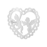 "Stainless Steel Charm Pendants Heart Silver Tone Angel Pattern 21.0mm( 7/8"") x 19.0mm( 6/8""), Thickness: 0.3mm, 20 PCs"