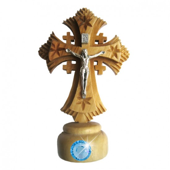 Olive wood Crucifix in 4.3'' (11 cm) with Base and faux gem