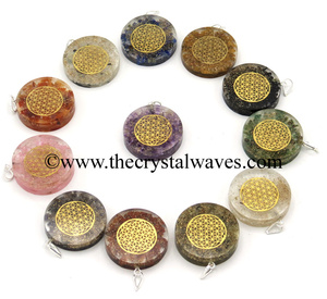 Mix Assorted Gemstone Chips With Flower Of Life Symbols Round Orgone Disc Pendant