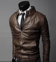 Black stand collar men's leather jackets and coats spring leather jacket for men slim fashion motorcycle clothes