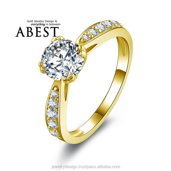 Classic 1.0CT Round10K Gold Yellow Solitaire Ring Simulated Diamond Ring Jewelry New Wedding Engagement Ring For Women Gift