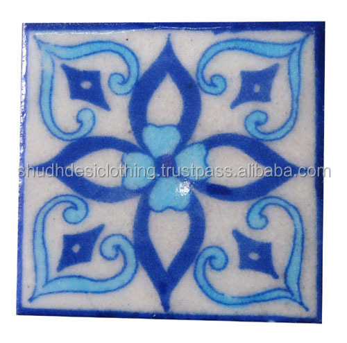 Interior Glazed Ceramic Blue Pottery Wall Tile, Ceramic Wall Tiles