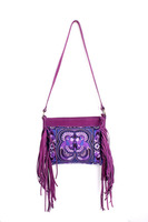 Bewitching Cross Body With A Purple Bird Embroidered Pattern, Adorned With Purple Leather Tassel