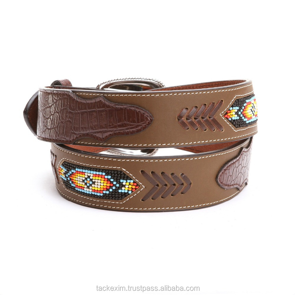 Western Classics Mens Beaded Inlay HIGH QUALITY Leather Belts