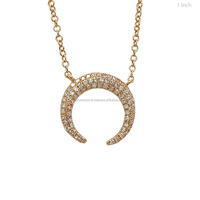 Natural SI Diamonds Pendant 14k Yellow Gold Crescent Moon Necklace, Pendant Available in Rose gold / Yellow Gold / White Gold