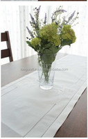 Hand embroidered white cotton table runner