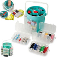 Kawachi 210pc Deluxe Sewing Kit Set Thread Needles Pins Buttons & Storage Caddy Box