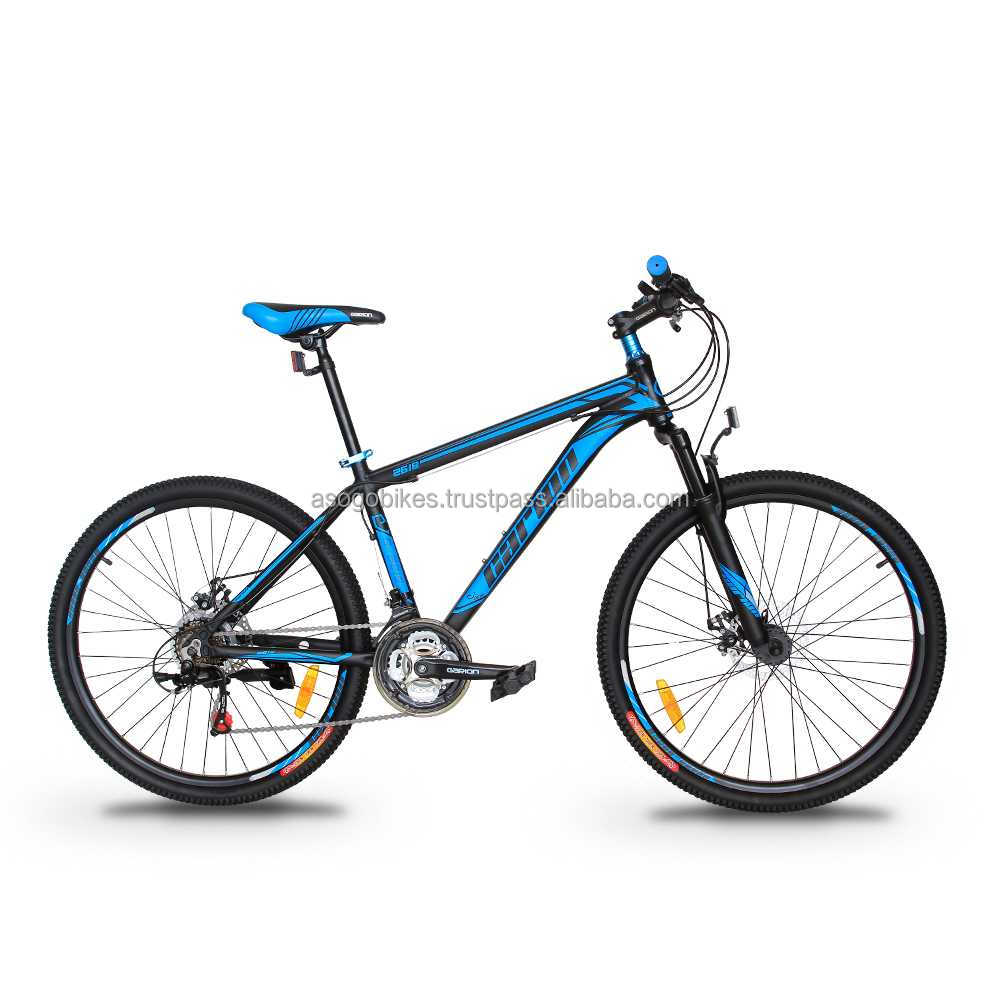 "GARION 26"" Alloy MTB Bike Mountain Bike with Disc Brake 21 Speed Matte Black with Blue"