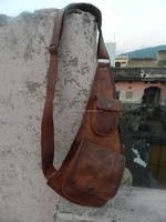Pure brown leather vintage travel/picnic/overnight back pack bag
