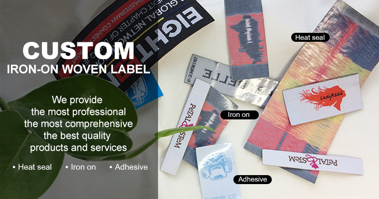 Custom cheap iron on labels for clothing, iron on patches on clothing, iron on labels