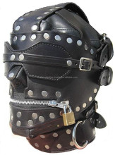 GENUINE LEATHER BONDAGE HOOD / MASK with LOCKING MOUTH & BLINDFOLD