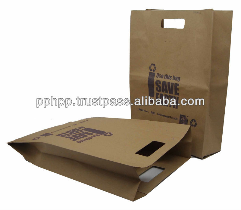 "Paper Bag with Hole Handle 11""x4""x16.5"" (SAVE THE EARTH)"