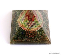 Big Orgonite Green Jade Pyramid With Flower Of Life Symbol And Crystal Point