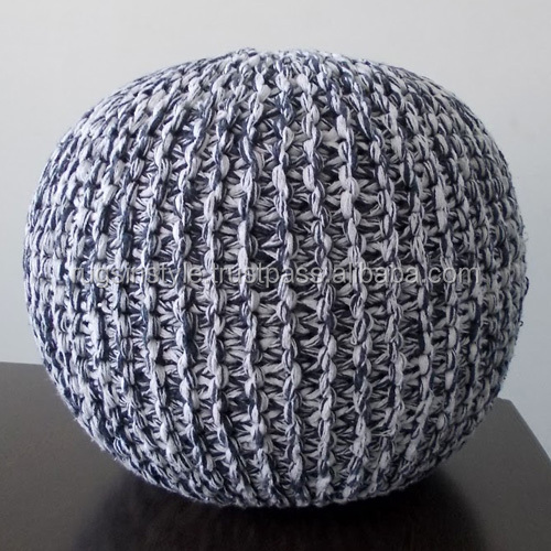 Customized Design Handmade Knitted Pouf,knitted ottoman stool