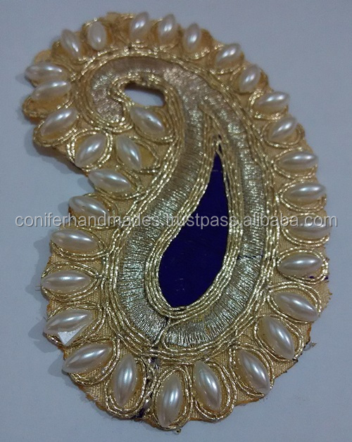 paisley theme brocade embroidered brooches for wedding invitations