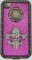 BEAUTIFUL JEWELED FLEUR DE LIS PHONE CASE FOR IPHONE 4