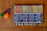 Banjara gypsy bag with coins and mirrors zippered clutch purse pouch with beads and tassels vintage textile Kuchi
