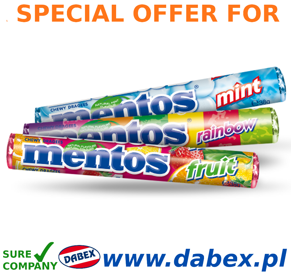 Mentos 38g drops Fruit, Mint, Strong Mint, Rainbow www.dabex.pl