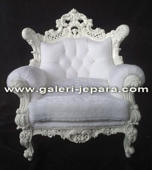French Single Sofa Furniture - Solid Wood Style Home Furniture - White Arm Chair Sofa Sets