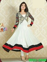Indian Georgette Multi-Coloured Partywear Salwar Kameez Designs For Stitching