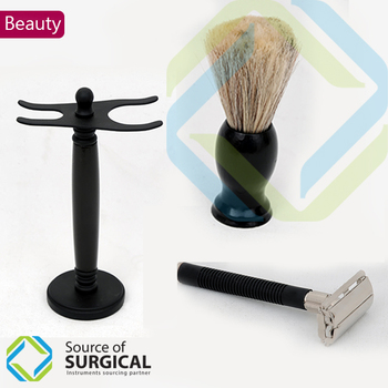 Safety Razors with Wooden Stands and Shaving Brush Complete Set.