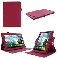Dual View Premium PU Leather Folio case cover, detach inner sleeve for ASUS MeMO Pad FHD 10 ME302C/ME301T roocase (Magenta)