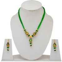 Wholesale Rajasthani Traditional Kundan Green Meena Work Puwai Necklce With 4Layer Beads String