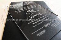 wedding invites in glass or acrylic with text engraved on the invite available in size 6 *8 inches
