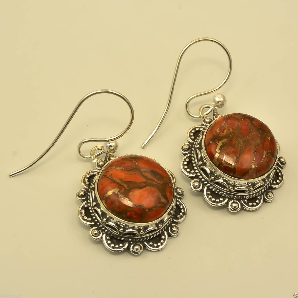 Copper Red Turquoise Gemstone Earring Jewellery,Handmade Silver Plated Vintage Earring,Online Collection For Woman