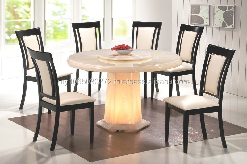 Marble Dining Table Wooden Chair Glowing Table Stand