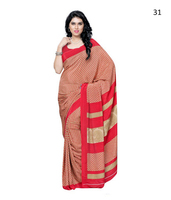 Colourful indian cotton golden zari saree with designer pallu with blouse piece