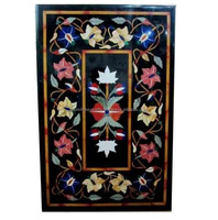 Black Marble Stone Inlaid Coffee Table Top Pietra Dura Dining Tables With Marble Inlay