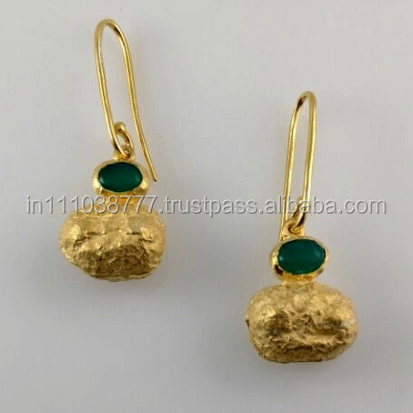 Made in India 18k gold plated earring dangler 925 silver gemstone jewellery synthetic emerald AGE2594